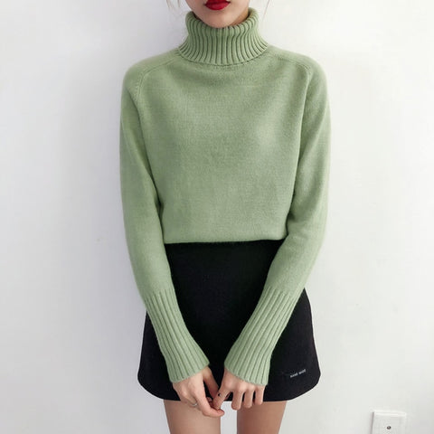 Winter Long Sleeve Turtleneck Cashmere Knitted Women Pullover Sweater