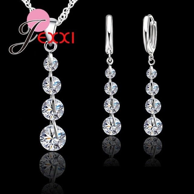 Silver Water Drop Shape Sterling Crystal  Link Chain Necklace+Earrings Jewelry Set
