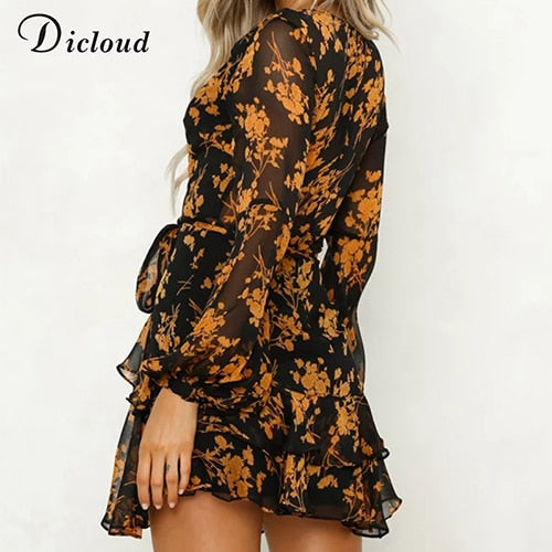 Chiffon Long Sleeve Floral Printed V-Neck Short Mini Dress
