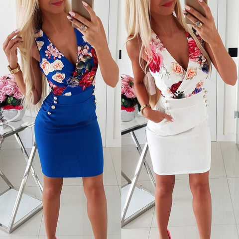 Summer Floral Print Low Cut V Neck Bodycon Mini Dress