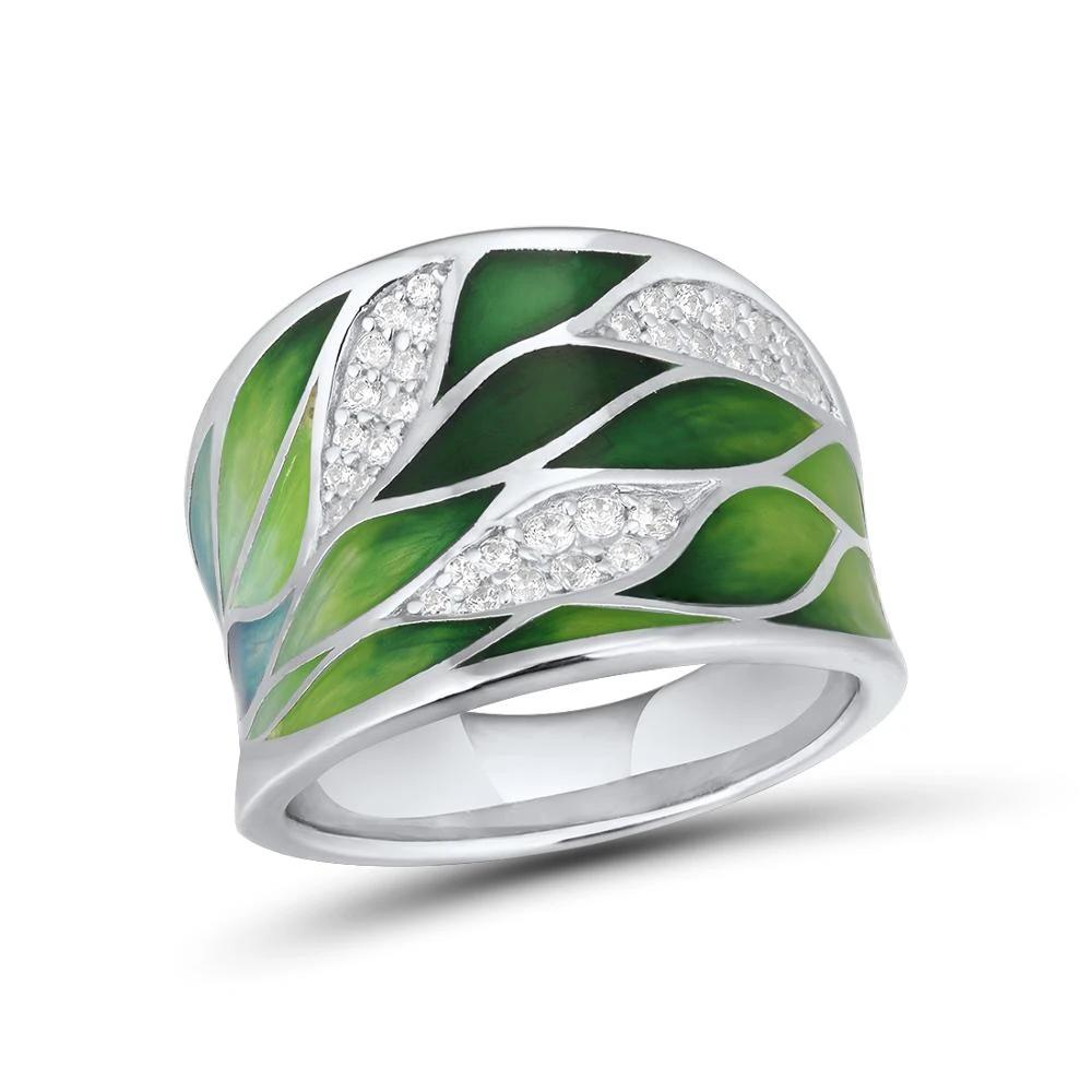 Sterling Silver Green Bamboo leaves Luminous Rings