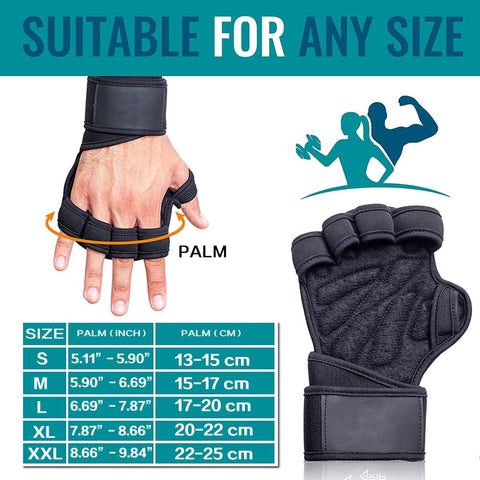 Men Half Finger Hand Palm Protector With Wrist Weight Lifting Gloves