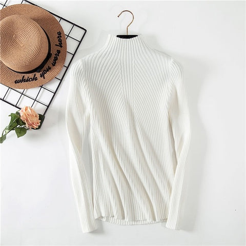 Casual Long Sleeve Solid Turtleneck Women Cotton Pullover Sweater