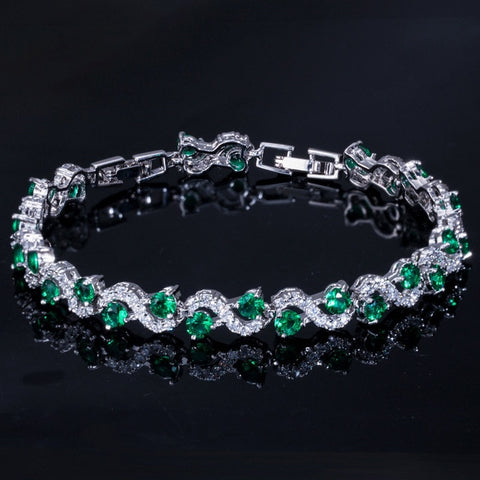 Trendy Cubic Zirconia Stone and Crystal Bracelet