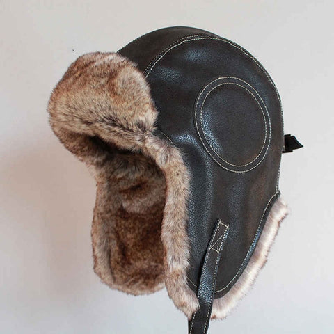 Winter Faux Fur Leather Pilot Aviator Unisex Bomber Trapper Hat With Ear Flaps