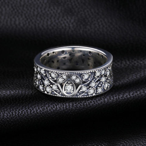 925 Sterling Silver Hollow-out Flower Statement Ring
