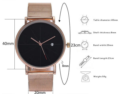 Casual Stainless Steel Mesh Band Quartz Wristwatch