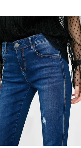 Casual Low Waist Skinny Cropped Jeans