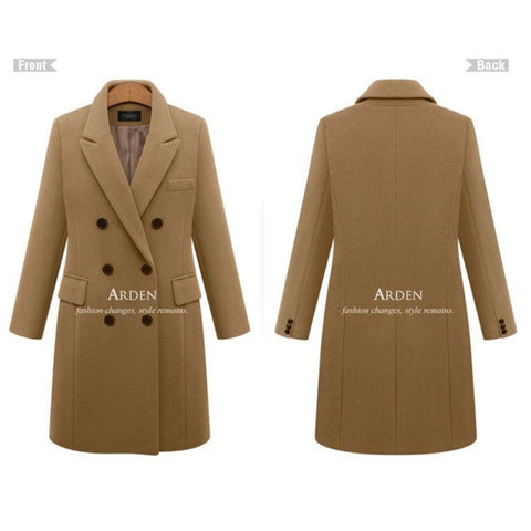 Winter Long Sleeve Double Breasted Turn-down Collar Women Casual Coat Blazer