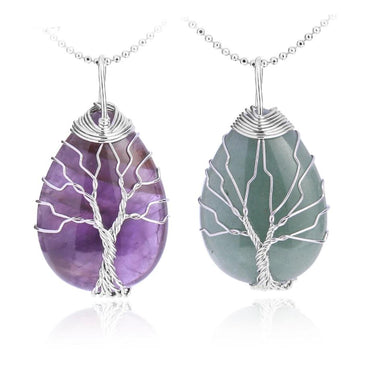 Natural Stone Gem Tree of Life Water Drop Shape Women Necklace Pendant