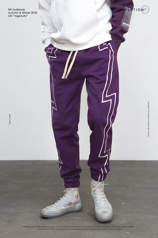 Stripe Screen Print Elastic Waist Track Sweatpants