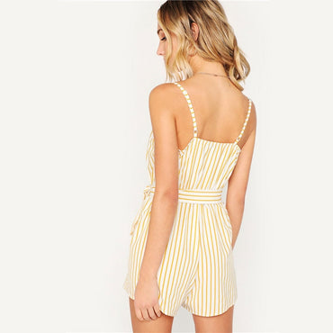 Fashion Striped Sleeveless With Belt Beach Style Women Wrap Cami Jumpsuit Rompers