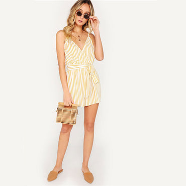 Summer Striped Spaghetti Strap Sleeveless With Belt Women Beach Rompers Jumpsuit
