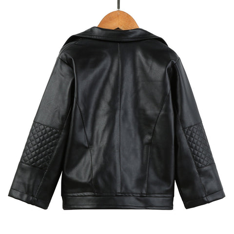 Casual Spring Autumn PU Leather Long Sleeve Girls Short Jacket