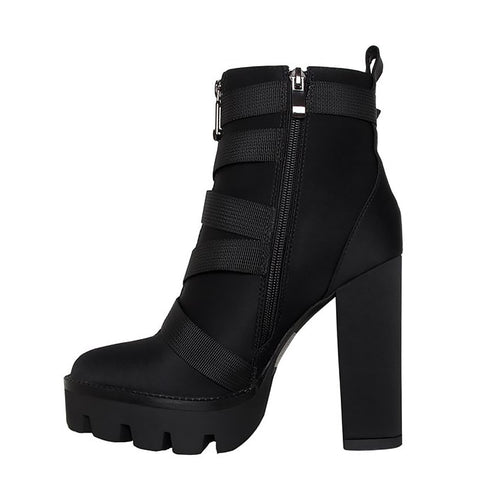 Black PU Synthetic Round Toe Zipper Women 12cm Thick Heels Ankle Boots