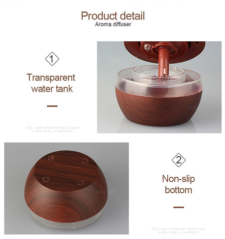 USB Electric Wood Essential Oil Aromatherapy 300ml Ultrasonic Humidifier For Home