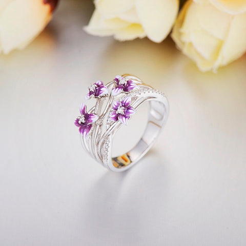 Silver Delicate Pink Flower Shiny Cubic Zirconia Ring