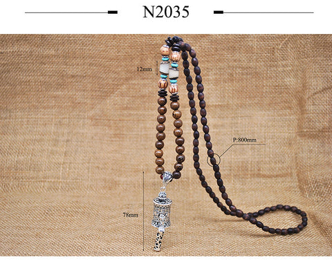 Handmade Buddhist Mala Wood Beads Nepal Necklace Pendant For Unisex