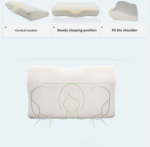 Butterfly Design Slow Rebound Memory Foam Pillow Case For Neck Protection