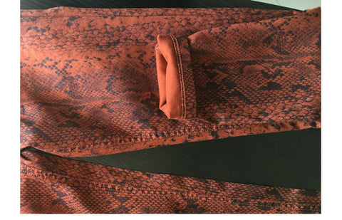 Snake Print Pencil Pattern Women Trousers Elastic Pants