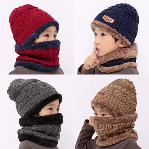 Casual Acrylic Thick and Warm Kids Ski Hats With Neck Scarf