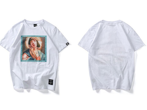 Virgin Mary Printed Short Sleeve Hip Hop Casual Cotton Top T-Shirt