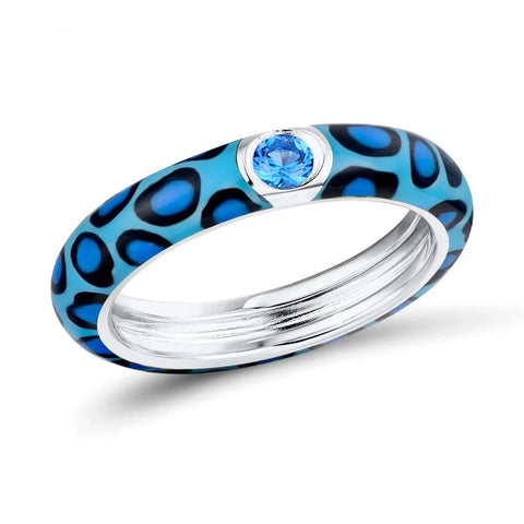 Colorful Leopard Print Sterling Silver Eternity Ring