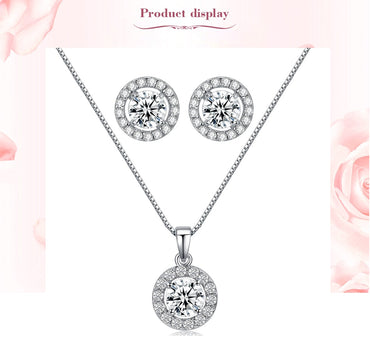 Women Handcraft Small Cute CZ Women Jewelry Set Chain Pendant Necklace+Earrings