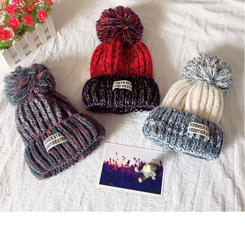 Winter Letter Print With Fur Unisex Casual Warm Beanies Hats