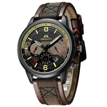 Waterproof Leather Strap Complete Calendar Men's Military Quartz Wristwatch