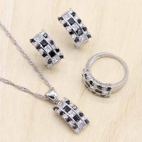 Black Cubic Zircon Bracelet Geometric Shaped Jewelry Sets