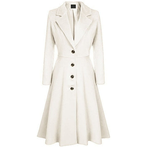 Winter Casual Long Trench Lapel Pleated Button Long Coats