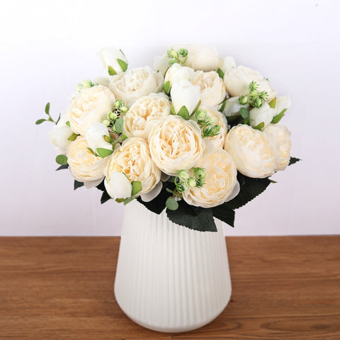 Artificial Flowers 30cm Silk Rose Bouquet For Wedding Home Decoration