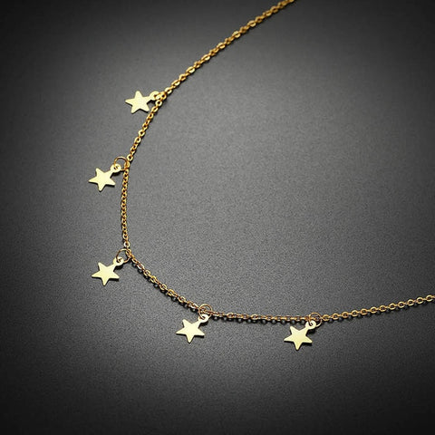 Women Metal Stainless Steel Star Charms 10mm Chokers Necklaces