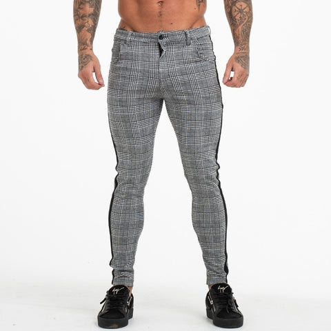 Grey Side Stripe Mid Waist Cotton Zipper Fly Men Casual Pencil Pant Trouser