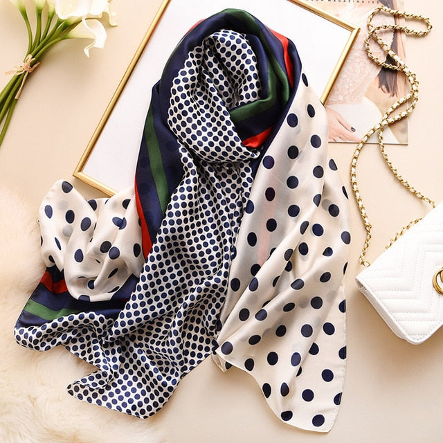 Colorful Dot Striped Print Women Silk Travel Wraps 175cm Scarf Scarves