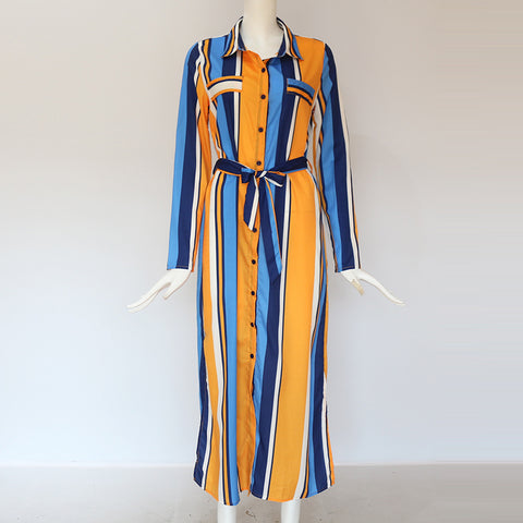 Casual Long Sleeve Elegant Stripe Shirt Boho Beach Dress
