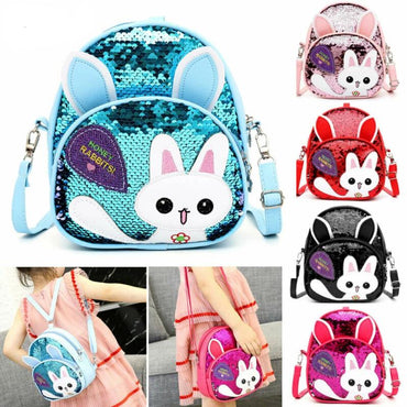 3D Cartoon Print Sequins Zipper Girls Soft Backpacks