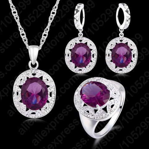 Crystal Cubic Zircon Jewelry Sets Pendant+Necklace+Earrings+Ring