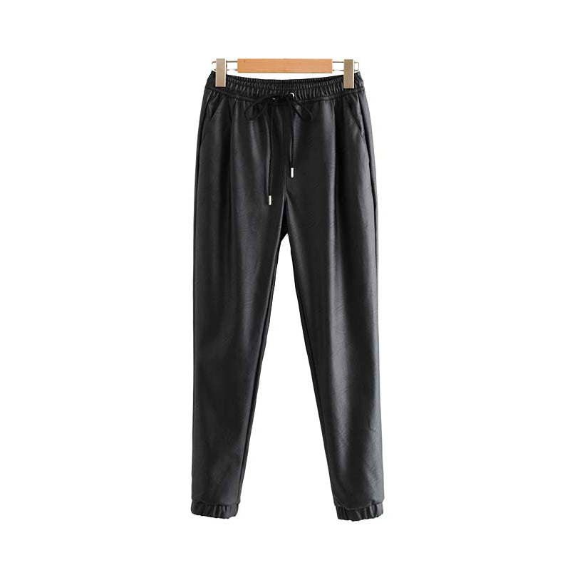 Black PU Leather Elastic Waist Pockets Women Ankle Length Pants Trousers