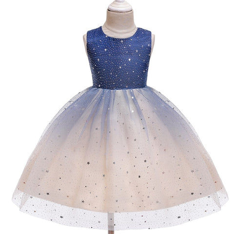 Star Flower Print Sleeveless Round Neck With Back Lace Girls Birthday Party Wedding Gown Dress