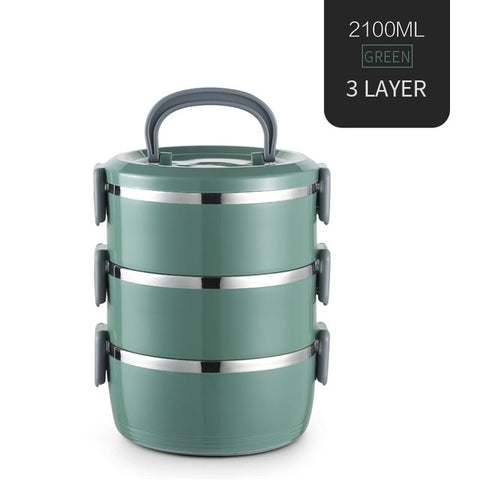 Stainless Steel Thermal Food Container Round Shape Lunch Box For Kids