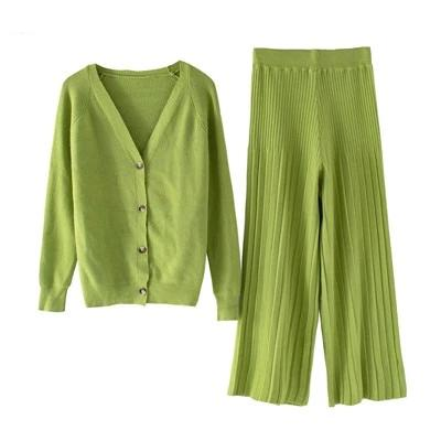 Winter Long Sleeve V-Neck Buttons Women's Cardigan + Wide Leg Trouser Sets