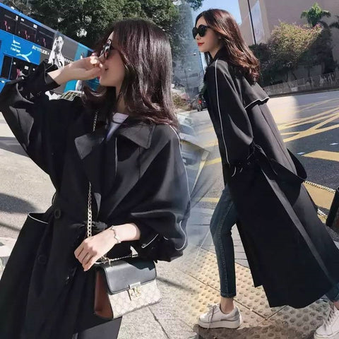 Casual Long Sleeve Double Breasted With Belt Women Maxi Windbreaker Coat