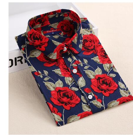 Cherry Floral Printed Long Sleeve Turn Down Collar Women Casual Cotton Shirt