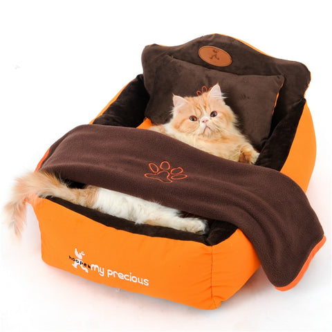 Washable Dog Bed with Double Sided Cushion, Soft Pillow & Blanket