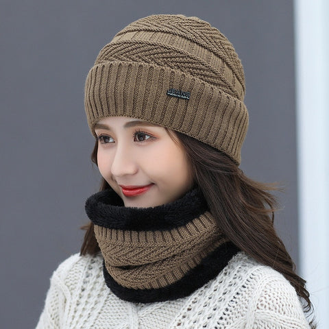Letter Print Cotton Fitted Strap Women's Skullies Hats Knitted Scarf