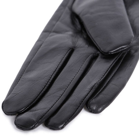 Longer Genuine Leather Warm Gloves for Women