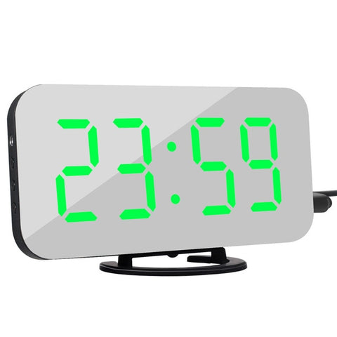 Digital LED Snooze Display Alarm Clock Desk 2 USB Charger Ports Universal Phone
