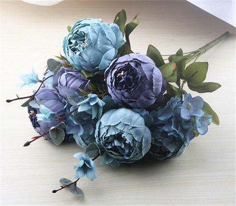 European Artificial Peony Decorative Party Silk 1 Bunch Fake Flowers